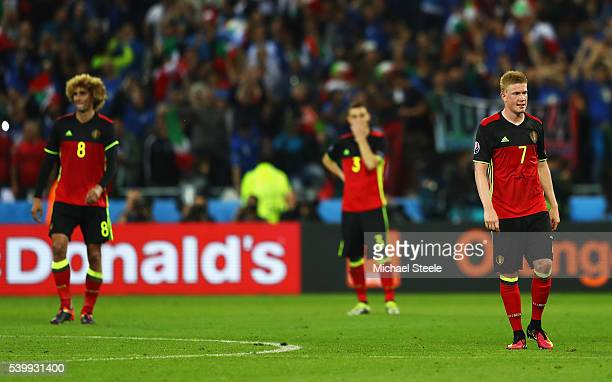 Kevin De Bruyne of Belgium shows his frustration after the UEFA EURO 2016 Group E match between Belgium and Italy at Stade des Lumieres on June 13...