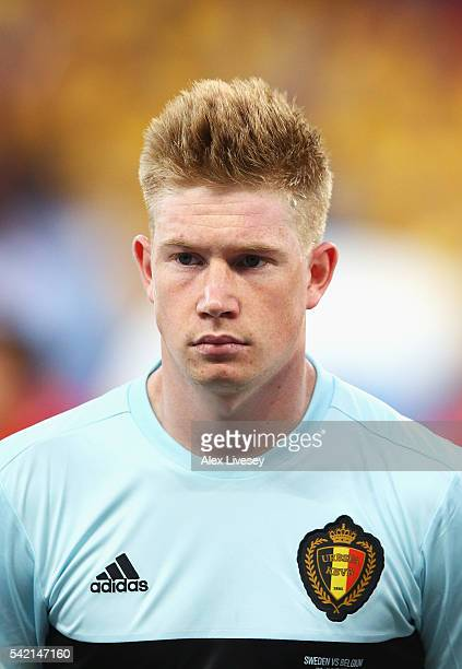 Kevin De Bruyne of Belgium stands during the national anthems ahead of the UEFA EURO 2016 Group E match between Sweden and Belgium at Allianz Riviera...