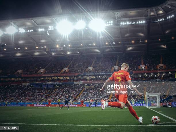Kevin De Bruyne of Belgium takes a corner during the 2018 FIFA World Cup Russia Round of 16 match between Belgium and Japan at Rostov Arena on July 2...