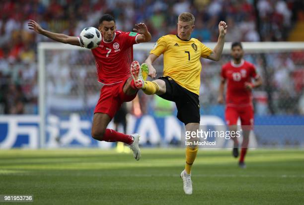 Kevin De Bruyne of Belgium vies with Salf Khaoui of Tunisia during the 2018 FIFA World Cup Russia group G match between Belgium and Tunisia at...