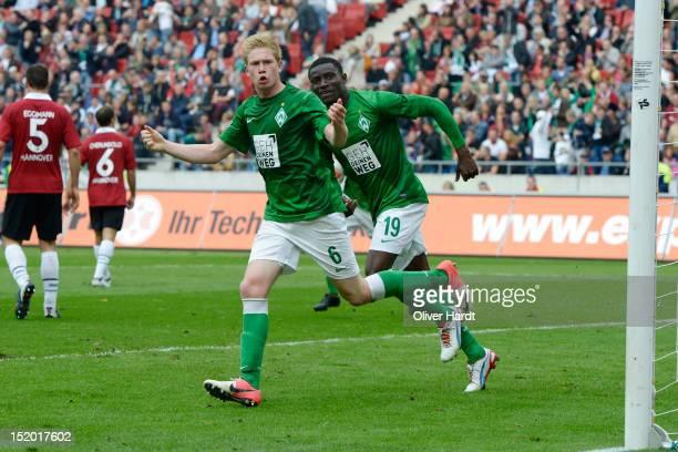 Kevin De Bruyne of Bremen celebrates after scoring their first goal during the 1 Bundesliga match between Hannover 96 and Werder Bremen at AWD Arena...