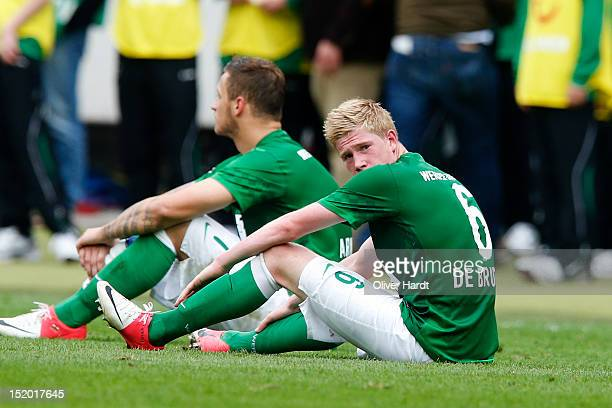 Kevin De Bruyne of Bremen looks frustrated after the Bundesliga match between Hannover 96 and Werder Bremen at AWD Arena on September 15 2012 in...