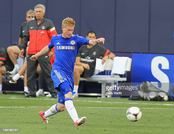 Kevin De Bruyne of Chelsea FC plays the ball against Paris Saint Germain during the match at Yankee Stadium on July 22 2012 in New York City
