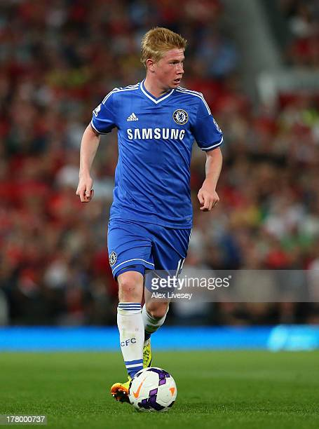Kevin De Bruyne of Chelsea in action during the Barclays Premier League match between Manchester United and Chelsea at Old Trafford on August 26 2013...