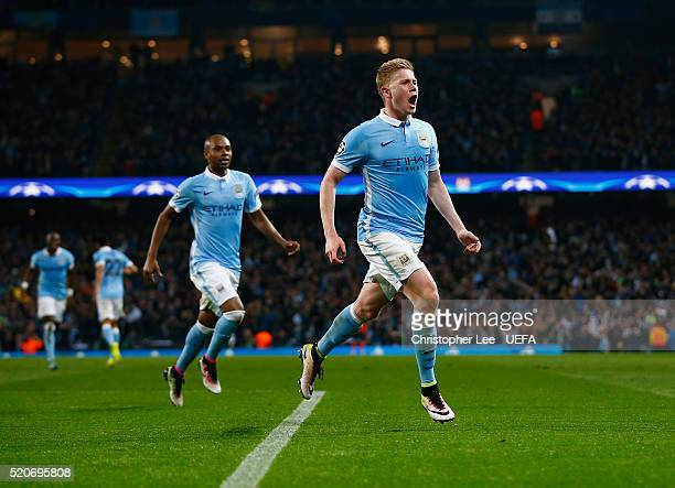 Kevin De Bruyne of Man City celebrates scoring the winning goal during the UEFA Champions League Quarter Final second leg match between Manchester...