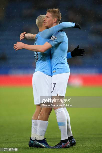 Kevin De Bruyne of Man City celebrates with Sergio Aguero of Man City after scoring their 1st goal during the Carabao Cup Quarter Final match between...