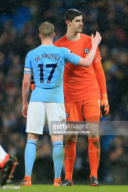 Kevin De Bruyne of Man City greets Chelsea goalkeeper Thibaut Courtois after the Premier League match between Manchester City and Chelsea at the...