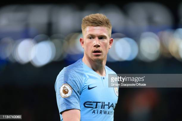 Kevin De Bruyne of Man City looks on during the Premier League match between Manchester City and Cardiff City at the Etihad Stadium on April 3, 2019...