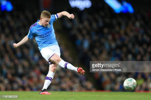 Kevin de Bruyne of Man City passes the ball during the Carabao Cup Semi Final match between Manchester City and Manchester United at the Etihad...