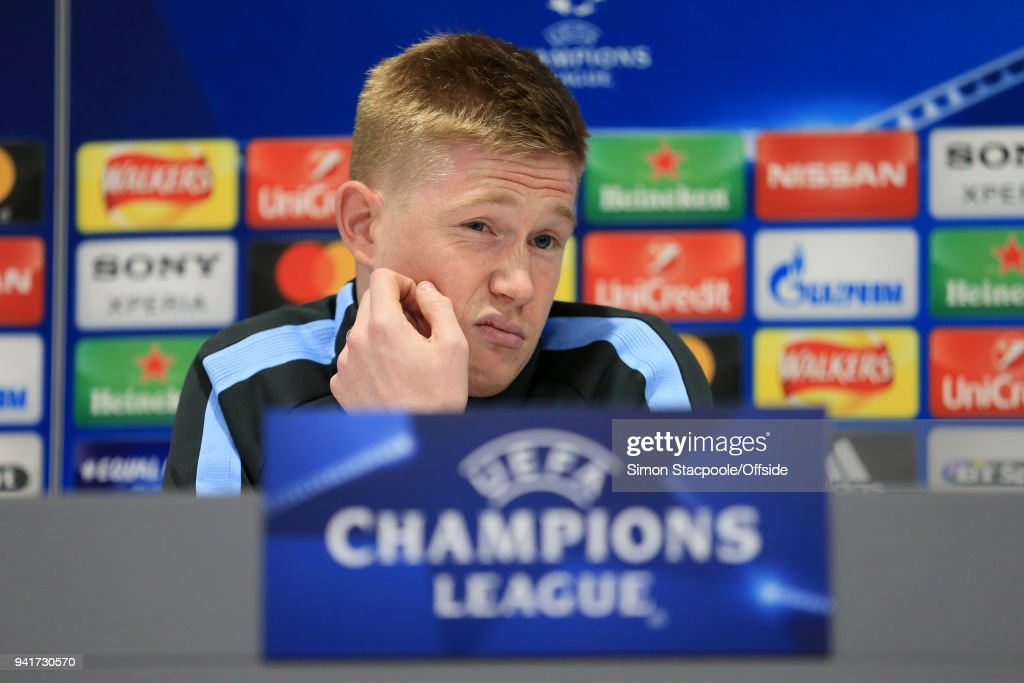 Kevin De Bruyne of Man City speaks during a press conference prior to their UEFA Champions League Quarter Final First Leg match against Liverpool at Anfield on April 3, 2018 in Liverpool, England.