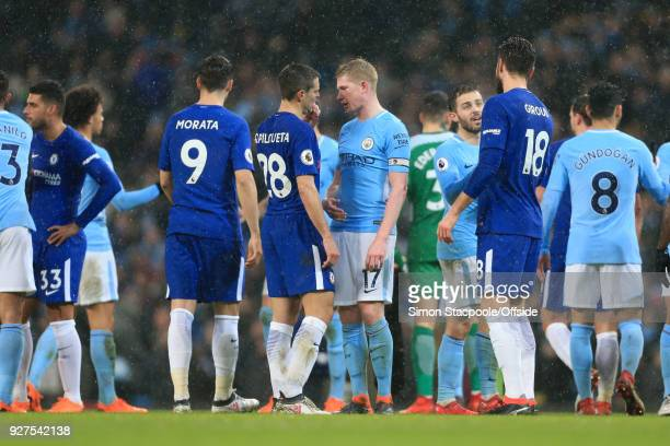 Kevin De Bruyne of Man City speaks to Cesar Azpilicueta of Chelsea after the Premier League match between Manchester City and Chelsea at the Etihad...