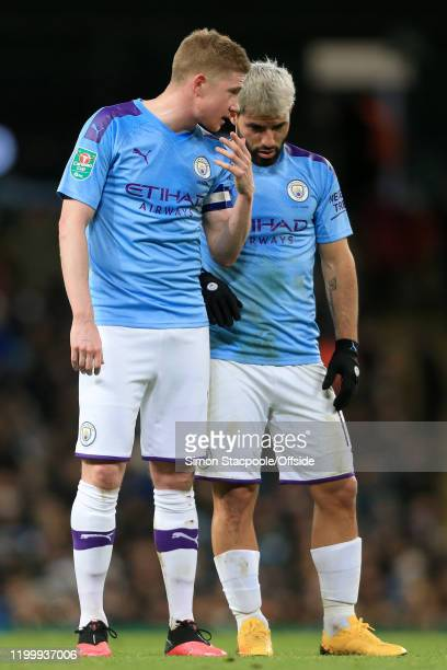 Kevin de Bruyne of Man City talks to Sergio Aguero of Man City during the Carabao Cup Semi Final match between Manchester City and Manchester United...