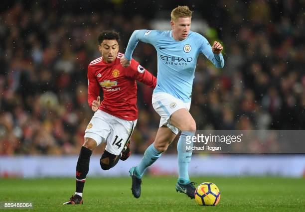 Kevin De Bruyne of Manachester City nd Jesse Lingard of Manchester United in action during the Premier League match between Manchester United and...
