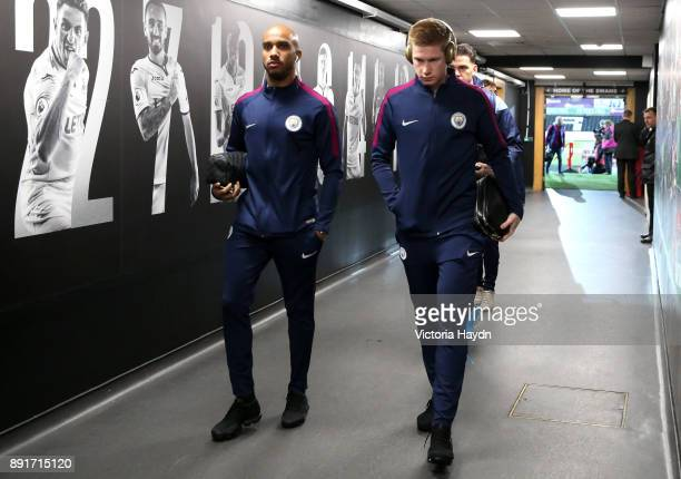 Kevin De Bruyne of Manchester City and Fabian Delph of Manchester City arrive at the stadium prior to the Premier League match between Swansea City...