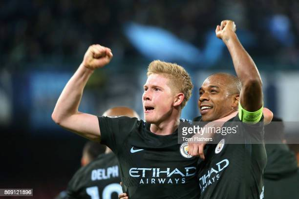 Kevin De Bruyne of Manchester City and Fernandinho of Manchester City celebrate victory after the UEFA Champions League group F match between SSC...