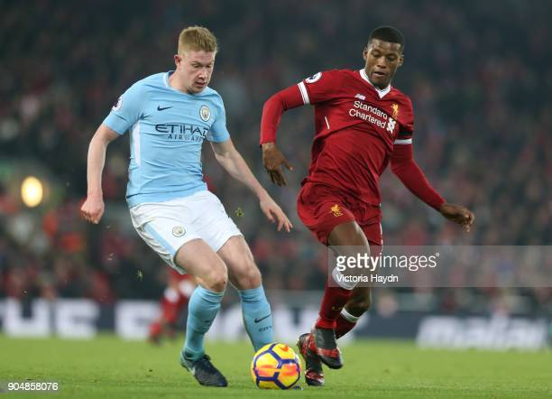 Kevin De Bruyne of Manchester City and Georginio Wijnaldum of Liverpool battles for possesion during the Premier League match between Liverpool and...