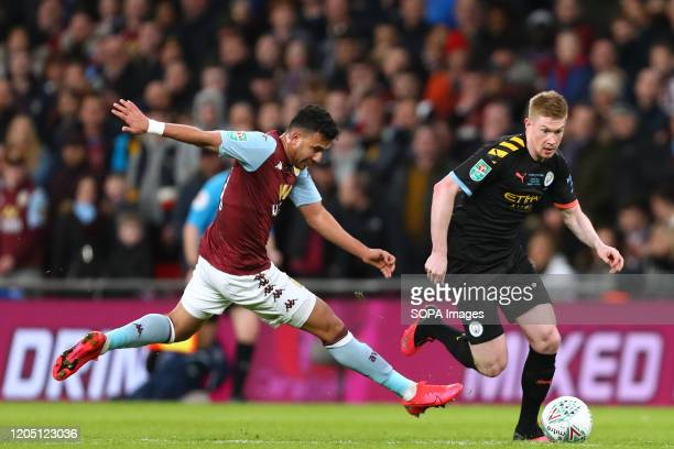 Kevin De Bruyne of Manchester City and Mahmoud Hassan of Aston Villa in action during the Carabao Cup Final match between Aston Villa and Manchester...