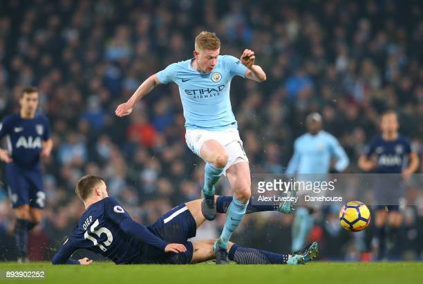 Kevin De Bruyne of Manchester City beats Eric Dier of Tottenham Hotspur during the Premier League match between Manchester City and Tottenham Hotspur...