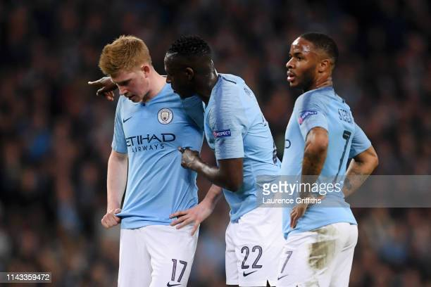 Kevin De Bruyne of Manchester City Benjamin Mendy of Manchester City and Raheem Sterling of Manchester City look on during the UEFA Champions League...