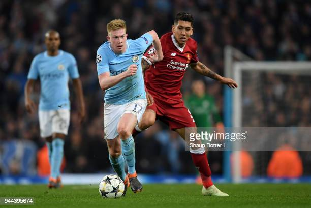 Kevin De Bruyne of Manchester City breaks away from Roberto Firmino of Liverpool during the UEFA Champions League Quarter Final Second Leg match...