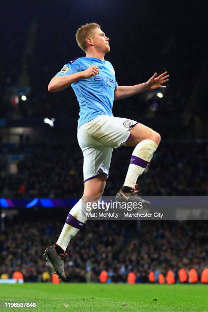Kevin De Bruyne of Manchester City celebrates after he scores his sides second goal during the Premier League match between Manchester City and...
