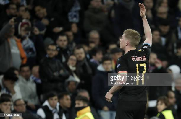 Kevin de Bruyne of Manchester City celebrates after scoring a goal during the UEFA Champions League round of 16 first leg soccer match between Real...