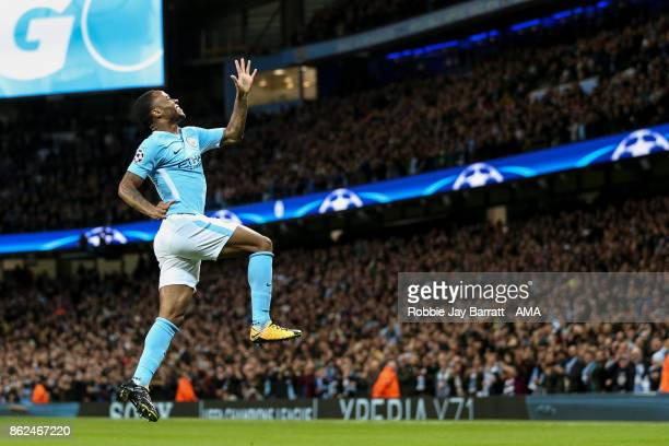 Kevin De Bruyne of Manchester City celebrates after scoring a goal to make it 10 during the UEFA Champions League group F match between Manchester...