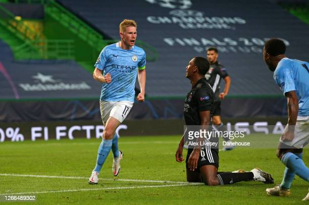Kevin De Bruyne of Manchester City celebrates after scoring his goal during the UEFA Champions League Quarter Final match between Manchester City and...