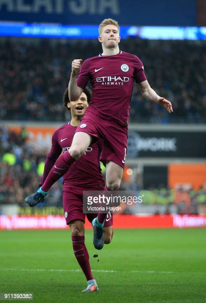 Kevin De Bruyne of Manchester City celebrates after scoring his sides first goal during The Emirates FA Cup Fourth Round match between Cardiff City...