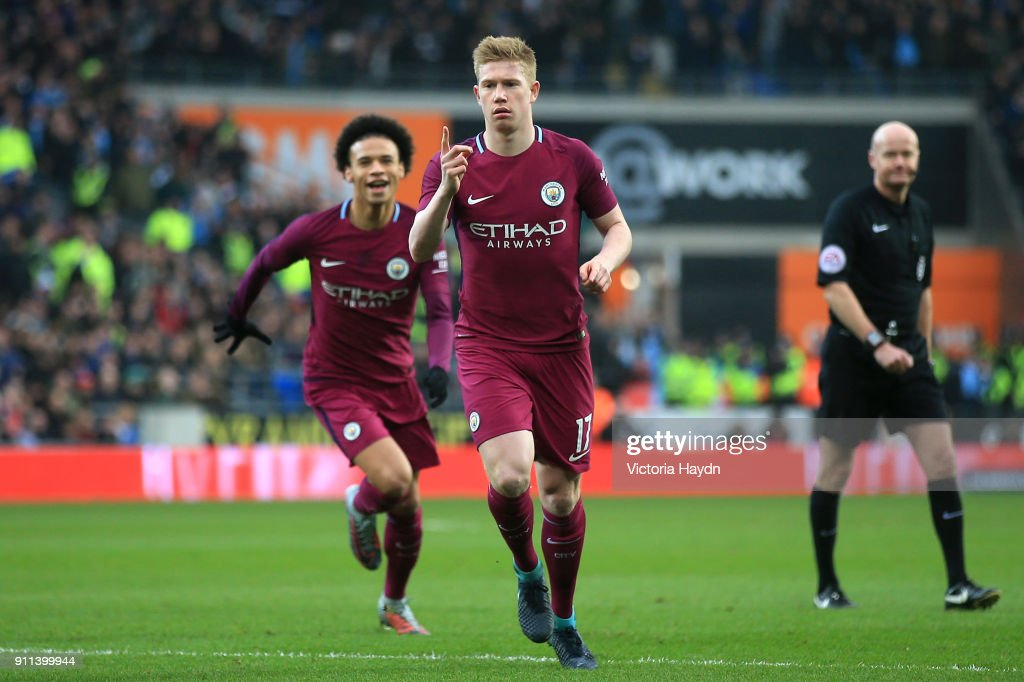 Kevin De Bruyne of Manchester City celebrates after scoring his sides first goal during The Emirates FA Cup Fourth Round match between Cardiff City and Manchester City on January 28, 2018 in Cardiff, United Kingdom.