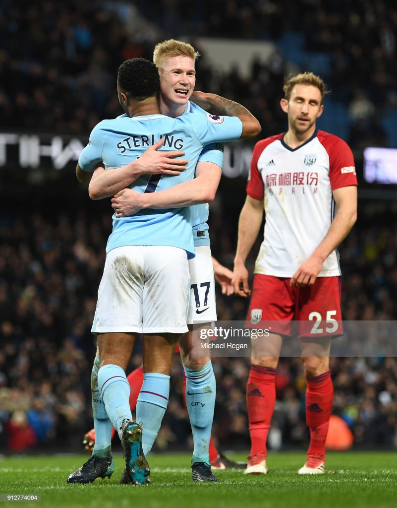 Kevin De Bruyne of Manchester City celebrates after scoring his sides second goal with Raheem Sterling of Manchester City during the Premier League match between Manchester City and West Bromwich Albion at Etihad Stadium on January 31, 2018 in Manchester, England.