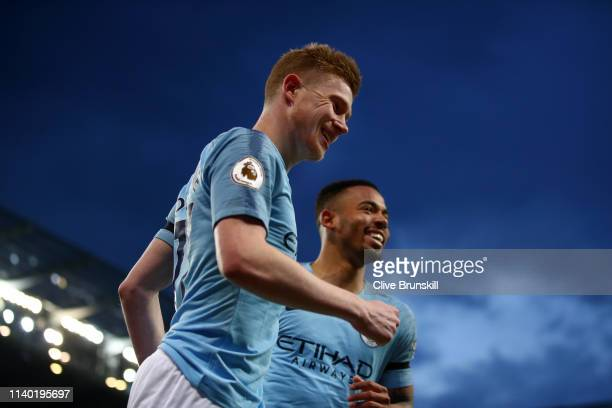 Kevin De Bruyne of Manchester City celebrates after scoring his team's first goal during the Premier League match between Manchester City and Cardiff...