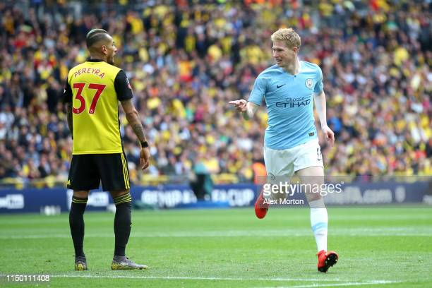 Kevin De Bruyne of Manchester City celebrates after scoring his team's third goal during the FA Cup Final match between Manchester City and Watford...