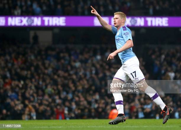 Kevin De Bruyne of Manchester City celebrates after scoring his team's first goal during the Premier League match between Manchester City and Chelsea...
