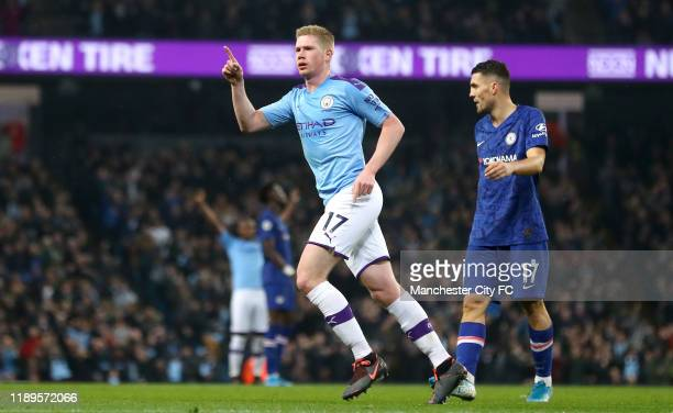 Kevin De Bruyne of Manchester City celebrates after scoring his team's second goal as ch during the Premier League match between Manchester City and...