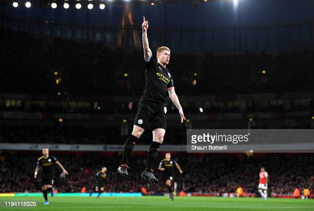 Kevin De Bruyne of Manchester City celebrates after scoring his team's first goal during the Premier League match between Arsenal FC and Manchester...