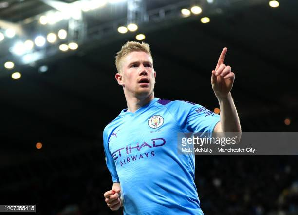 Kevin De Bruyne of Manchester City celebrates after scoring his team's second goal during the Premier League match between Manchester City and West...