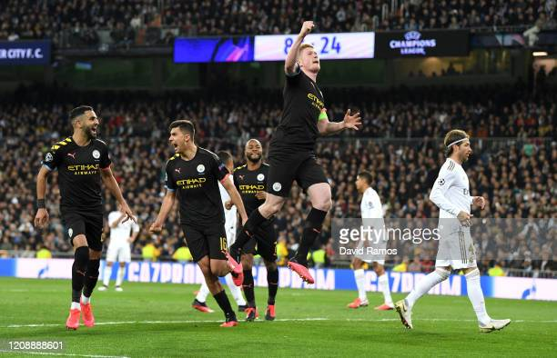 Kevin De Bruyne of Manchester City celebrates after scoring his team's second goal during the UEFA Champions League round of 16 first leg match...