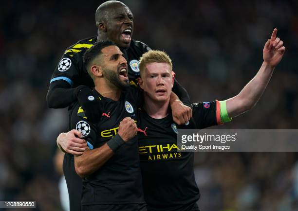 Kevin De Bruyne of Manchester City celebrates after scoring his team's second goal with his temamates Riyad Mahrez and Benjamin Mendy during the UEFA...