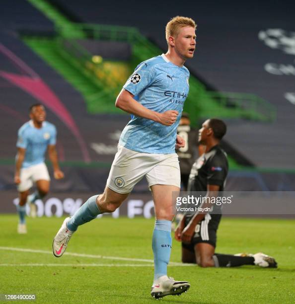 Kevin De Bruyne of Manchester City celebrates after scoring his team's first goal during the UEFA Champions League Quarter Final match between...