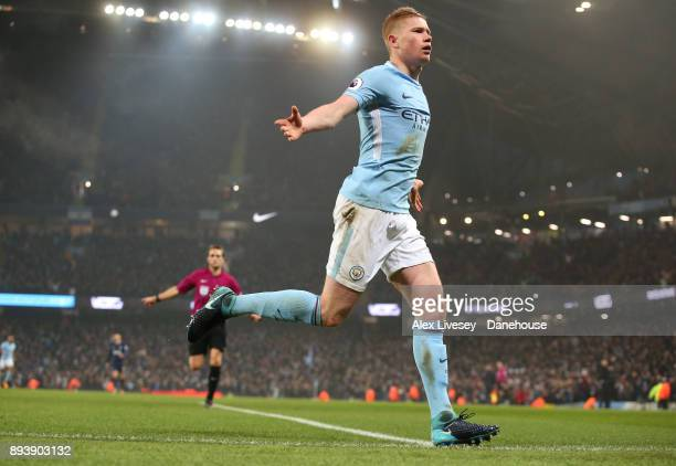 Kevin De Bruyne of Manchester City celebrates after scoring the second goal during the Premier League match between Manchester City and Tottenham...