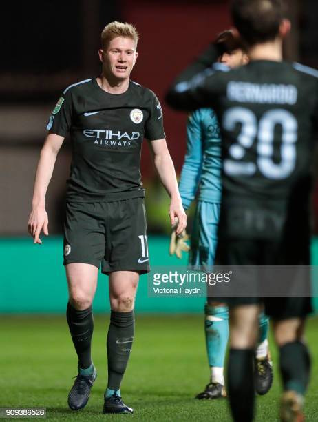 Kevin De Bruyne of Manchester City celebrates as he scores their third goal the Carabao Cup semifinal second leg match between Bristol City and...