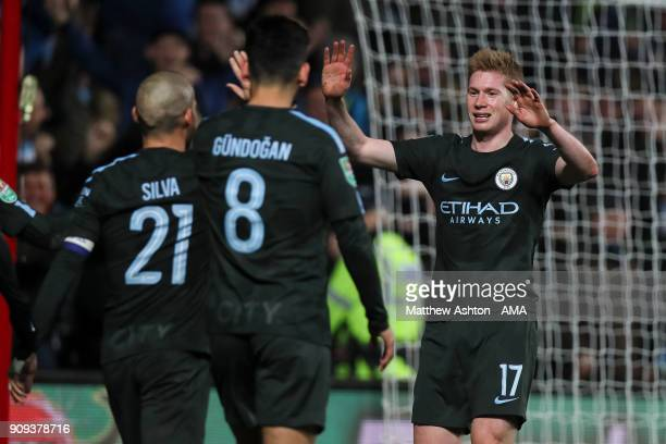 Kevin De Bruyne of Manchester City celebrates during the Carabao Cup SemiFinal Second Leg between Bristol City and Manchester City at Ashton Gate on...