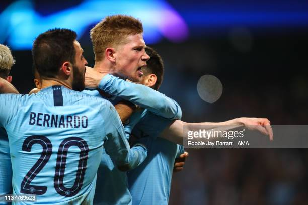 Kevin De Bruyne of Manchester City celebrates during the UEFA Champions League Quarter Final second leg match between Manchester City and Tottenham...