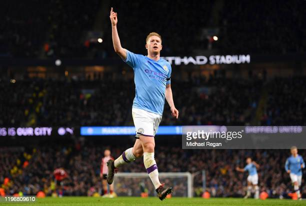 Kevin De Bruyne of Manchester City celebrates his goal to make it 2-0 during the Premier League match between Manchester City and Sheffield United at...