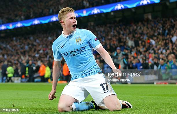 Kevin De Bruyne of Manchester City celebrates scoring during the UEFA Champions League's quarter final soccer match between Manchester City and Paris...