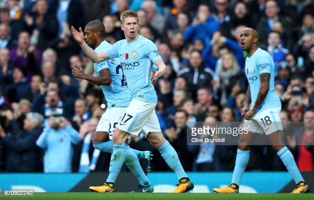 Kevin De Bruyne of Manchester City celebrates scoring his sides first goal during the Premier League match between Manchester City and Arsenal at...