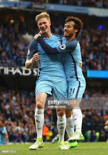 Kevin De Bruyne of Manchester City celebrates scoring his sides second goal with David Silva of Manchester City during the Premier League match...
