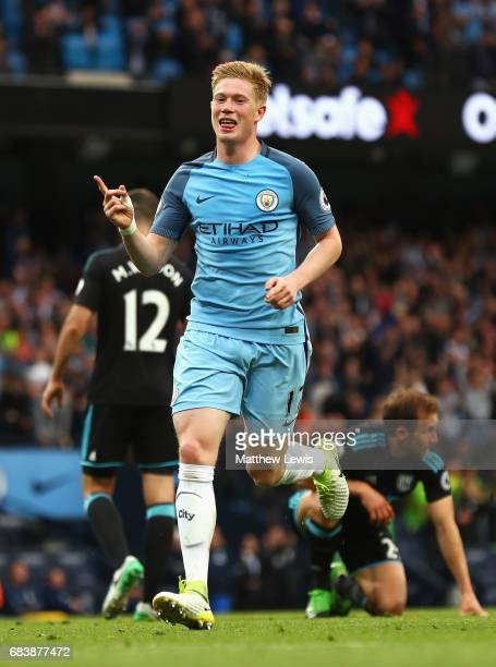 Kevin De Bruyne of Manchester City celebrates scoring his sides second goal during the Premier League match between Manchester City and West Bromwich...