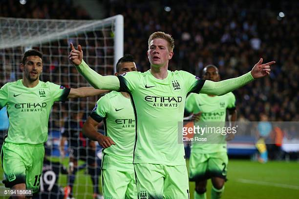 Kevin de Bruyne of Manchester City celebrates scoring his team's first goal during the UEFA Champions League Quarter Final First Leg match between...